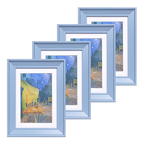 5x7 Wood Picture Frame - Beveled Profile - Set of 4 - for Picture 4x6 with Mat or 5x7 without Mat - Photo One Piece