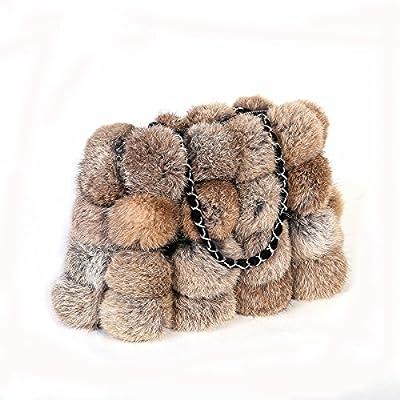 Metrekey Womens Fur Ball Purse Real Rabbit Fur Pompom Chain Handbags