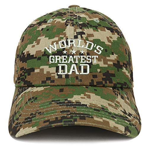 Trendy Apparel Shop World's Greatest Dad Embroidered Soft Crown 100% Brushed Cotton Cap - Digital Green ()
