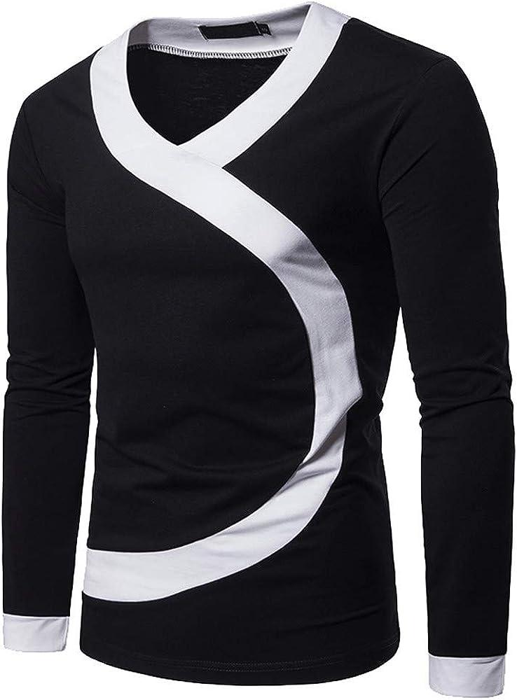 Yvelands Camisas para Hombres Liquidación, Camisas de Invierno para Hombres Camisa de Manga Larga con Cuello en Ola de Patchwork Casual.: Amazon.es: Ropa y accesorios