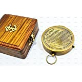 Sailor's Art Antique Look E. E. Cummings Complete I Carry Your Heart Poem On Solid Brass Compass With Wooden Box 3 by Sailor's Art