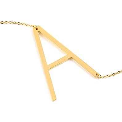 gold stainless steel big letter necklace pendant initial name necklace from a z gold a