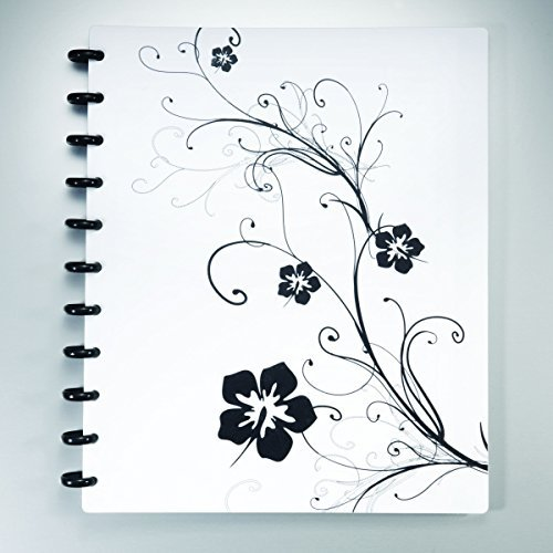 Staples Arc Customizable Hibiscus Design Notebook System, Black & White, 11 in x 8.5 in (Notebook Disc Bound)