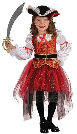Mädchen Rot Gold Hübsche Pirat Büchertag Kostüm Kleid Outfit 3