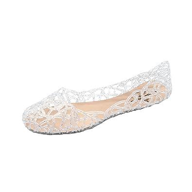 Angelliu Frauen weichen, hohlen Gelee Sandalen flache Schuhe Sommer-Strand,  Silber, 36