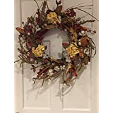 Cotton Fields Decorative Fall Wreath for A Protected Front Door Or Indoor Year Round Everyday Farmhouse Decor 22 Inch Thanksgiving Wreath