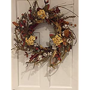 Cotton Fields Decorative Fall Wreath for A Protected Front Door Or Indoor Year Round Everyday Farmhouse Decor 22 Inch Thanksgiving Wreath 74
