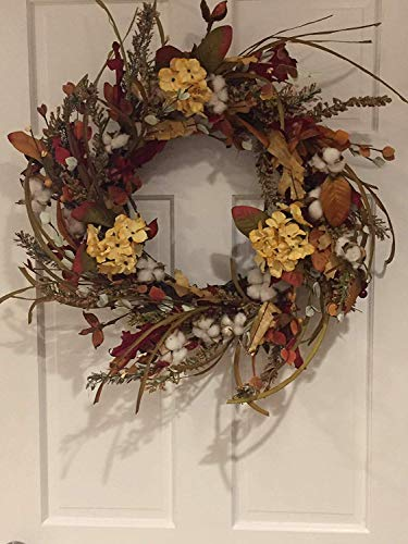 Cotton Fields Decorative Fall Wreath for A Protected Front Door Or Indoor Year Round Everyday Farmhouse Decor 22 Inch Thanksgiving Wreath ()