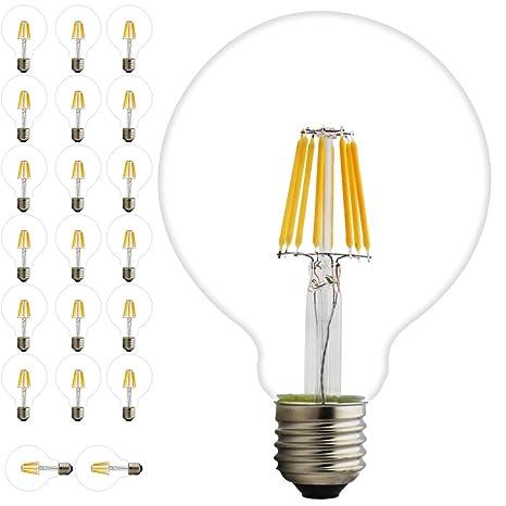 20 x 8 W bombilla LED filamento Globe G95 regulable E27 Edison Vintage Incandescente filamento Bombilla