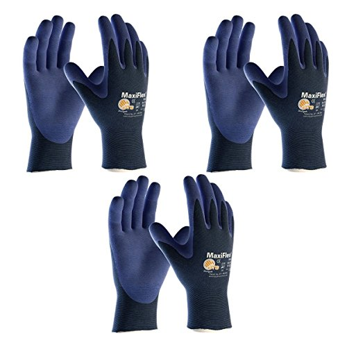Palm Finger - Elite MaxiFlex 34-274 Ultra Light Weight Glove with Nitrile Coated Grip on Palm and Fingers, (Sizes S-XL), Large, 3 Piece
