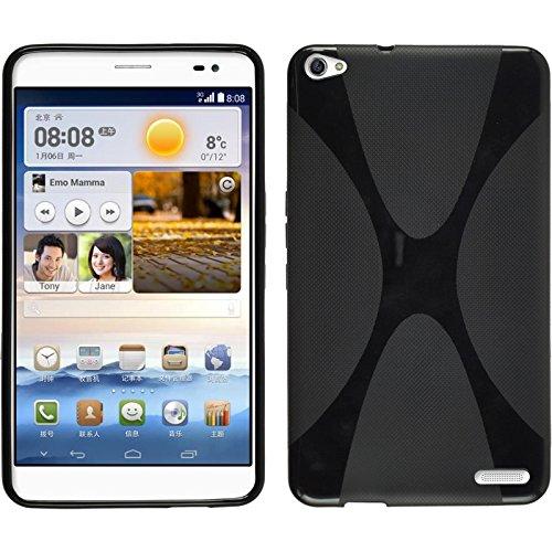 PhoneNatic Huawei MediaPad X1 Hülle Silikon schwarz X-Style Case MediaPad X1 Tasche + 2 Schutzfolien