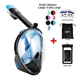 180° Snorkel Mask view for Adults and Youth. Full Face Free Breathing Design.[Free Bonuses] Cell Phone Universal Waterproof Case (Dry Bag) and Anti-Fog wipes (Black/Blue, Small/Medium)