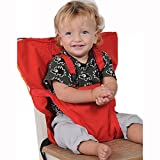 Synthiiz Portable BabyStrap Seat Belt Baby Dining Chair Safety Seats Tool, Toddler Safety Harness,Shopping Cart Safety Strap, Great for High Chair/Travel/Home (Red (Large size))