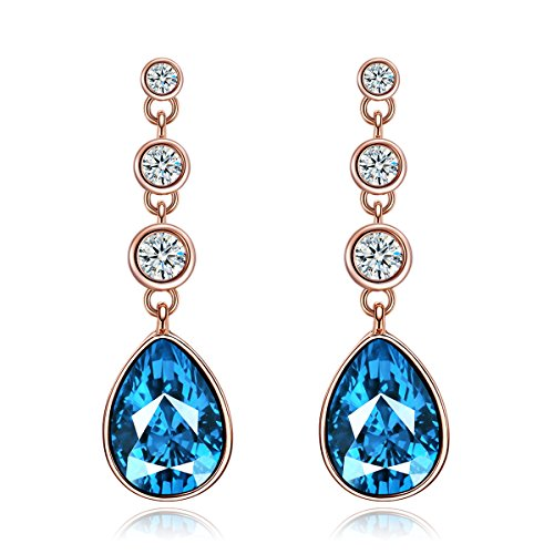 blue products elise earrings womens stone montana shaped steel grande pear s synthetic stainless women