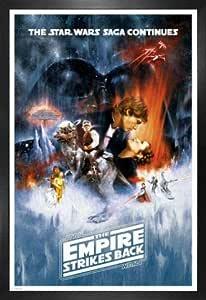 1art1 Star Wars Póster con Marco (Madera DM) - Episodio V, El Imperio Contraataca, Cartel De Cine (91 x 61cm)