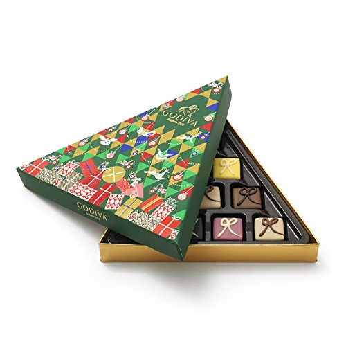 Godiva Chocolatier Christmas Tree Assorted Holiday Chocolate Gift Box, 10 Piece