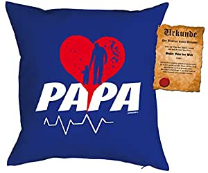 Vater especial Día Cojín con relleno y Schöner Escrituras: Corazón Impacto Papa Color: Azul