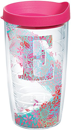 Tervis 1240870 INITIAL-E Botanical Insulated Tumbler with Wrap and Fuschia Lid 16oz Clear