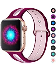 Haveda Sport Bands Compatible for Apple Watch 40mm 38mm 44mm 42mm, Breathable Silicone Replacement Bands for IWatch 4, Apple Watch Series 4 Series 3 Series 2/1 Women Men Kids