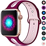 Haveda Sport Bands Compatible for Apple Watch 42mm/44mm, Soft Silicone Bands for Apple 4 Watch, iWatch Series 4/3/2/1, Women Men Kids 42mm/44mm M/L Cherry/Pink Sand