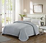 #4: Simple&Opulence Bedspread Washed Super Soft Microfiber Quilt (Grey Square, King)