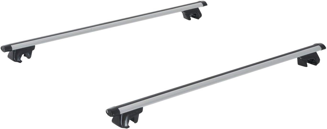 HOMCOM Juego de Barras para Techo Aluminio Universal Baca Portaequipajes Coche con Cierre 110cm