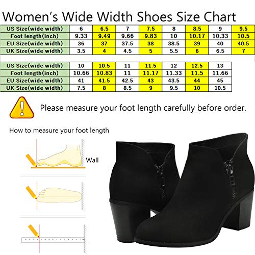 Booties Wide Mid Luoika Block Black Zipper Side Heels Chunky Toe Women's Ankle Boots on Round Mf Width Slip HwUrZ5Uq