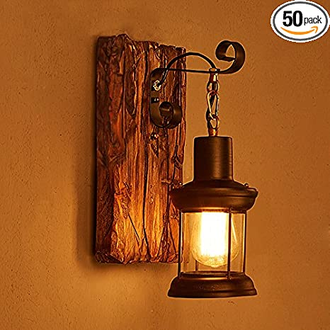 Amazon Com Lightinthebox Single Head Industrial Vintage Retro Wooden Metal Painting Color Wall Lamp For The Home Hotel Corridor Decorate Wall Light 110v Home Improvement