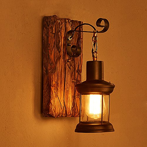 LightInTheBox Single Head Industrial Vintage Retro Wooden Metal Painting Color Wall lamp for the Home / Hotel / Corridor Decorate Wall Light 110V (Wall Rustic Lighting)