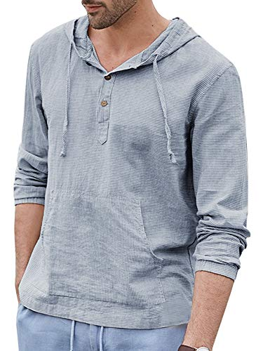 Karlywindow Mens Cotton Linen Hoodie Sweatshirts Long Sleeve Solid Hooded Henley Shirts with Pockets Light Blue ()