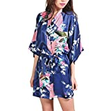Women's Robes Peacock Blossoms Kimono Silk Nightwear Short Style