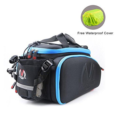 SAVADECK Bike Rack Bag, Bike Trunk Bag Multifunction Waterproof Cycling Road Bicycle Pannier Rack Rear Trunk Carrier Commuter Bag - Blue