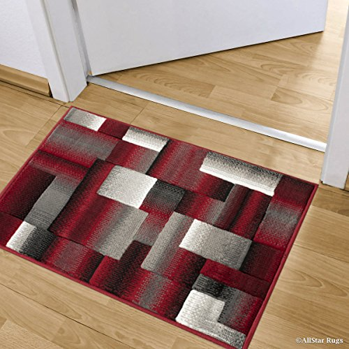 (Allstar 2 X 3 2 x 3 Red Exclusive Drop-Stitch and Contemporary Ombre Brick Area Rug (2' X 2' 11