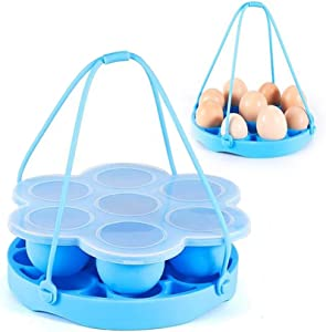 LIANGZHILIAN Egg Bite Mold for Instant Pot Accessories Silicone Instant Steamer Molds Container for Eggs Meatloaf Vegetables 9 Hole Egg Steamer 6qt 8qt - Built-In Handles Blue