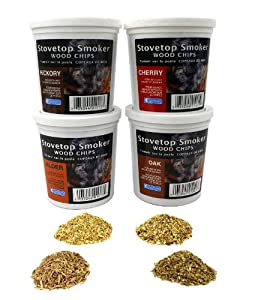 Wood Smoking Chips - Oak, Cherry, Hickory, and Alder Wood Smoker Value Pack - Set of 4 Resealable Pints from Camerons Products