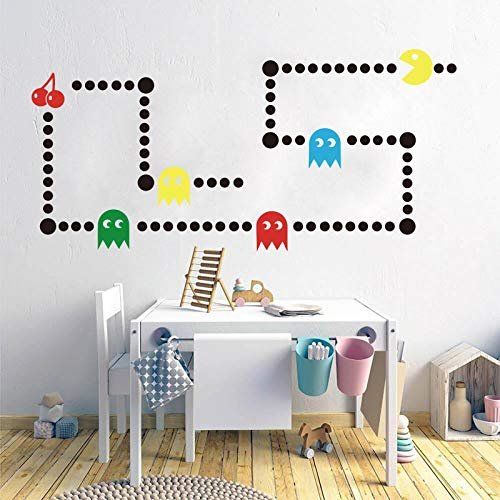 Retro Flower Wall Sticker - Pacman Game Wall Decal - Retro Gaming Xbox Decal - Pacman Game Space Invaders Wall Sticker Vinyl Decal Art Decor - Kids Room Bedroom Custom Color