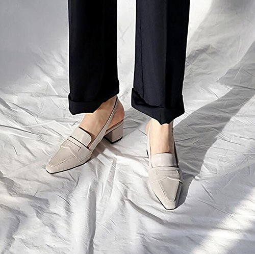Xue Qiqi Court Schuhe Die Schuhe der Frauen die Nach der Wortschnalle Wild Sind zeigten Einzelne Schuhfrauen mit Dick mit Baotou Sandalen