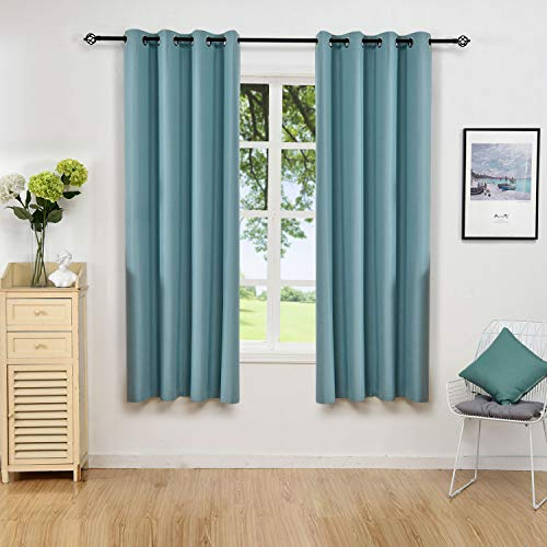 Allbright Grommet top Thermal Insulated Window Blackout Curtains for Living Room(2 Panels, 52 x 84 Inch, Teal Blue