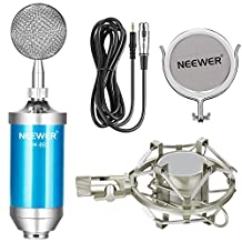 Neewer Broadcasting and Recording Microphone Kit includes: (1)Microphone with Build in Pop Filter+(1)Shock Mount +(1)3.5mm Male to XLR Female Microphone Cable(Blue)