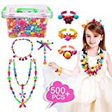Pop Beads Set 500Pcs Snap Beads for Kids Toddlers- DIY Bead Toys made Jewelry Necklaces Bracelets Rings Crafts- Ideal Christmas Birthday Gifts for Girls (Storage Box Included)