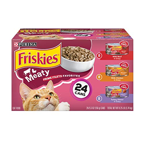 - Purina Friskies Gravy Wet Cat Food Variety Pack; Prime Filets Meaty Favorites - (24) 5.5 oz. Cans