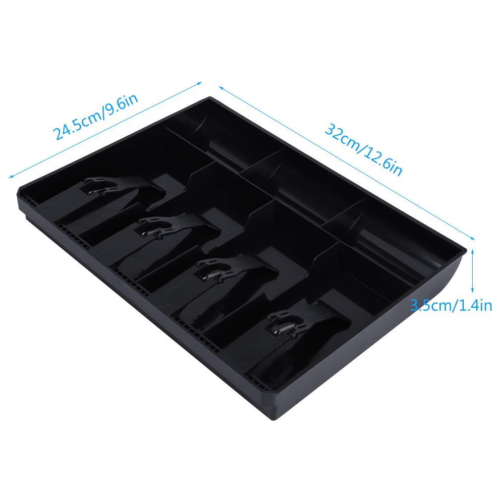 Noir Remplacement 4 Factures 3 Pi/èces de Monnaie,Bo/îte de Rangement en Plastique 12,6 x 9,6 x 1,4 Pouces Mugast Tiroir-Caisse,Tiroir Caisse Enregistreuse,Plateau Dinsertion
