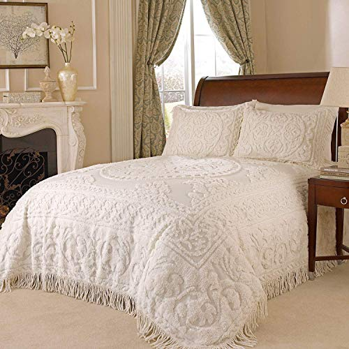Beatrice Home Fashions Medallion Chenille Bedspread and 2 Pillow Shams, King Size, Ivory ()