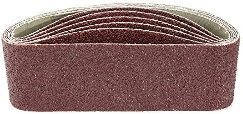 - 6-inch x 21-inch aluminum oxide sanding belt, 36 grains, 6 pieces