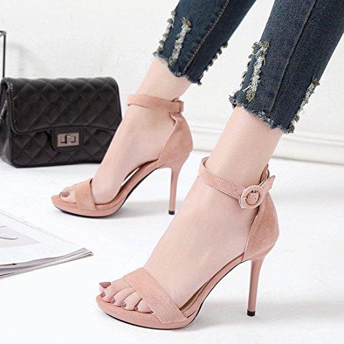 Rose Talon 8 Femme pour Rose Environ de a Printemps Noir cm Ete Elegante Chaussure YYF tW6qZFnww