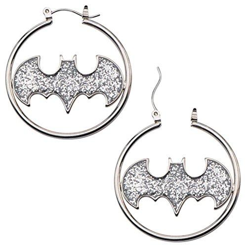 Official Batman Glitter Bat Symbol Logo Hoop Earrings