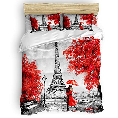 Arts Language 4 Pcs Bedding Sets Full Size for Kids/Teens/Adults Embrace Paris Eiffel Tower Red Maple Printed Quilt Sets with Duvet Cover, Flat Sheet, Pillowcases -