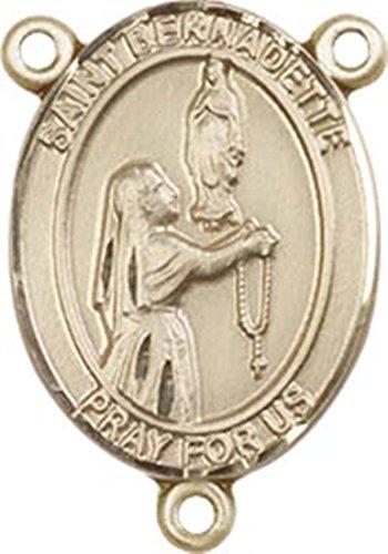 14K Gold Filled Saint Bernadette Rosary Centerpiece Medal, 3/4 Inch