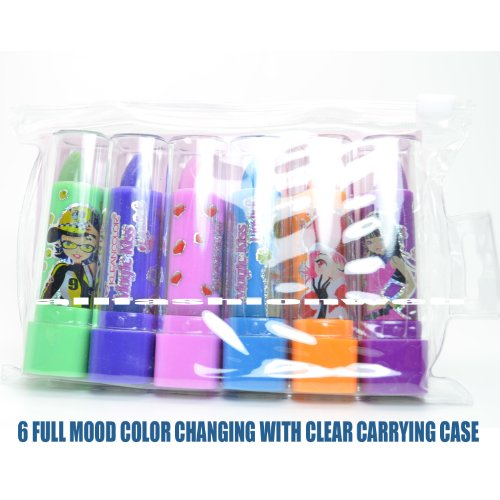KLEANCOLOR 6 MAGIC KISS MOOD COLOR CHANGING SCENTED LIPSTICK W/ POUCH + FREE EARRING