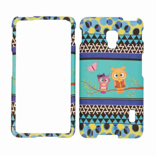 Cell Armor Snap-On Cover for LG Optimus F6 - Retail Packaging - Two Owls and Butterfly on Blue in the middle